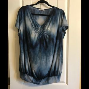 Dress barn blue black blouse 2X